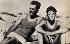 Peck (right) with his father c. 1930