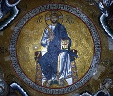 Mosaic of Christ Pantocrator in the dome of San Nicolò dei Greci in Palermo, Sicily.