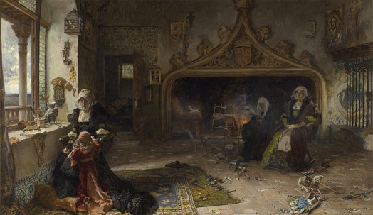Juana the Mad imprisoned in Tordesillas with her daughter, the infanta Catalina by Francisco Pradilla Ortiz (Museo del Prado, 1906)