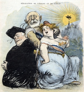 A caricature of Jean-Baptiste Bienvenu-Martin, Minister of Public Instruction, forcing the separation.