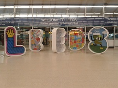 The 6-foot high 'LEEDS' letters inside the main entrance to the station
