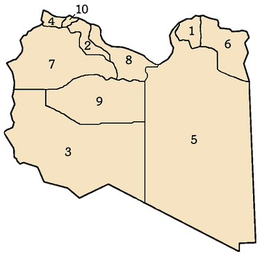 Ten governorates of Libya, numbers correspond to list at left.