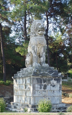 The Lion of Amphipolis in Amphipolis, northern Greece, a 4th-century BC marble tomb sculpture[267] erected in honor of Laomedon of Mytilene, a general who served under Alexander the Great