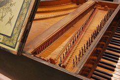 Detail of the mechanism of the Harpsichord by Christian Zell, at Museu de la Música de Barcelona
