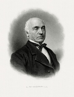 Bureau of Engraving and Printing portrait of Morrill as Secretary of the Treasury.