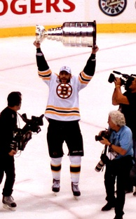 Milan Lucic with the Stanley Cup after the Bruins defeated the Vancouver Canucks in Game 7 of the 2011 Stanley Cup Finals.
