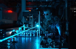 Experiments such as this one with high-power lasers are part of the modern optics research.