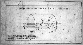 1855 Minié ball design from the U.S. Arsenal, Harper's Ferry, West Virginia
