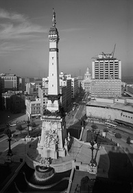 The Soldiers' and Sailors' Monument in 1970, the year Unigov was enacted.