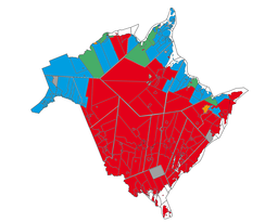Mother tongue in New Brunswick, Statistics Canada, 2006. Red: majority English, less than 33% French. Blue: majority French, less than 33% English. Yellow: majority English; more than 33% French. Green: majority French, more than 33% English. Grey: no data available
