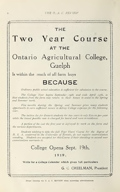 "This is ad for ""farm boys"" from the Ontario Agricultural College in 1919 recruiting them by talking about the low cost tuition"