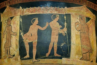 Ancient Greek vase showing Orestes and Pylades meeting Iphigenia in Tauris