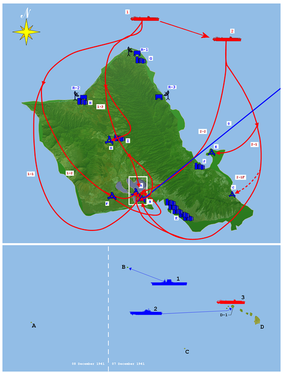 The Japanese attacked in two waves. The first wave was detected by United States Army radar at 136 nautical miles (252 km), but was misidentified as United States Army Air Forces bombers arriving from the American mainland.Top: A: Ford Island NAS. B: Hickam Field. C: Bellows Field. D: Wheeler Field. E: Kaneohe NAS. F: Ewa MCAS. R-1: Opana Radar Station. R-2: Kawailoa RS. R-3: Kaaawa RS. G: Haleiwa. H: Kahuku. I: Wahiawa. J: Kaneohe. K: Honolulu. 0: B-17s from mainland. 1: First strike group. 1-1: Level bombers. 1–2: Torpedo bombers. 1–3: Dive bombers. 2: Second strike group. 2-1: Level bombers. 2-1F: Fighters. 2-2: Dive bombers.Bottom: A: Wake Island. B: Midway Islands. C: Johnston Island. D: Hawaii. D-1: Oahu. 1: USS Lexington. 2: USS Enterprise. 3: First Air Fleet.