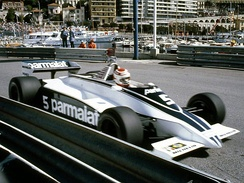 The BT49C being driven by Piquet at Monaco in 1981