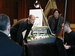 Rem Koolhaas inspecting the Seattle Central Library model. 2005