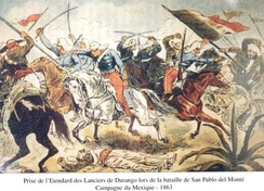 French chasseurs d'Afrique taking the standard of the Durango lancers at the Battle of San Pablo del Monte