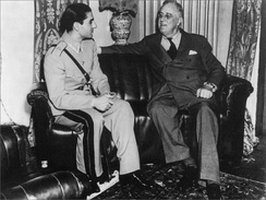 The Shah of Iran, shortly after his father's forced abdication during the Anglo-Soviet Invasion of Iran, meeting with American president Franklin D. Roosevelt during the Conference