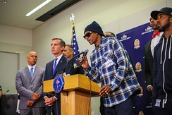 Snoop Dogg speaking at a press conference following the 2016 shooting of Dallas police officers.