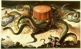 Octopus representing Standard Oil with arms wrapped around U.S. Congress and steel, copper, and shipping industries, and reaching for the White House.