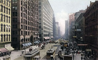State Street around the turn of the 20th century, the period of one of the major waves of Chicago literature.