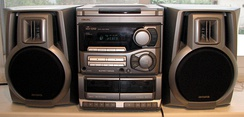 Domestic stereo system, having two speakers.