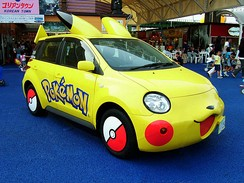 A Toyota Ist customized to resemble Pikachu