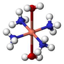Ball-and-stick model of the complex [Cu(NH3)4(H2O)2]2+, illustrating the octahedral coordination geometry common for copper(II).