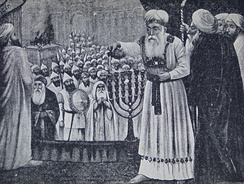 High Priest pouring oil over the menorah, Jewish new year card