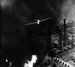 American Consolidated B-24 Liberator bomber aircraft during the bombing of oil refineries in Ploiești, Romania on 1 August 1943 during Operation Tidal Wave
