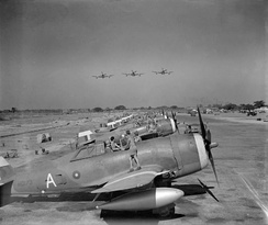 Thunderbolts of 135 Squadron RAF at Chittagong in 1944.