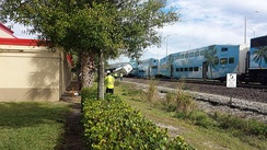 View of the train and garbage truck it struck in Lake Worth.