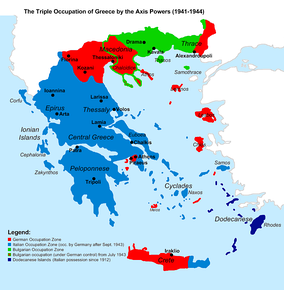 The Axis occupation of Greece. Blue indicates the Italian, red the German and green the Bulgarian.(in dark blue the Dodecanese, Italian possession since 1912)