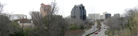View of Turtle Creek and Turtle Creek Boulevard from a Katy Trail overpass