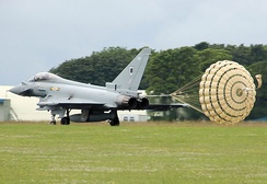 RAF Typhoon using a drag parachute for extra braking after landing