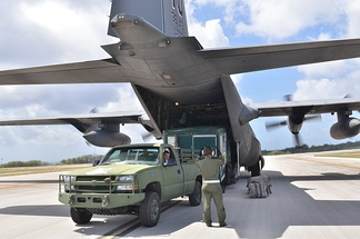 Unloading a LSSV Silverado & trailer, Yokota Air Base, Japan