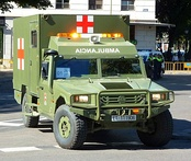 An URO VAMTAC ambulance of the Spanish Army emblazoned with the Red Cross