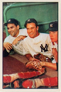 Bauer (center), with Yogi Berra and Mickey Mantle.