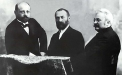 "The Hungarian ""ZBD"" Team (Károly Zipernowsky, Ottó Bláthy, Miksa Déri), inventors of the first high efficiency, closed-core shunt connection transformer"