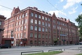 Redeveloped 19th-century red-brick Ericsson telephone factory (Soviet name Krasnaya Zarya (Red Dawn)) - a typical example of local industrial architecture of the time.