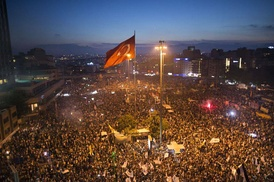 A view from the Gezi Park protests at Taksim Square in Istanbul, 15 June 2013.