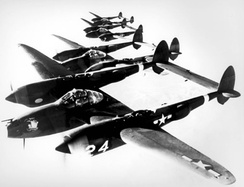 Four P-38Hs flying in formation