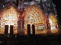Amien Cathedral with a light projection of the polychrome painting