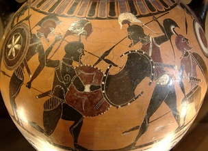 Scene from a black-figure amphora from Athens, 6th century BC, now in the Louvre, Paris