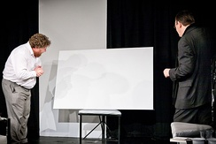 Serge and Marc inspect the white painting in a 2011 production by OVO theatre company, St Albans, UK.