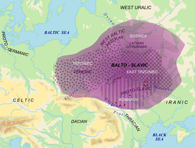 Area of Balto-Slavic dialectic continuum (purple) with proposed material cultures correlating to speakers Balto-Slavic in Bronze Age (white). Red dots = archaic Slavic hydronyms