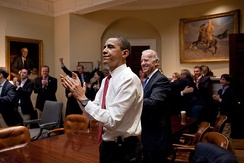 The President and White House Staff react to the House of Representatives passing the bill on March 21, 2010.
