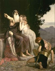 Oedipus (with Ismene and Antigone) condemns Polyneikes. Oil painting by Marcel Baschet (1883)