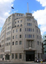 Broadcasting House in London, headquarters of the BBC, the oldest and largest broadcaster in the world[555][556][557]