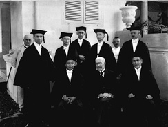 Dutch, Eurasian and Javanese professors of law at the opening of the Rechts Hogeschool in 1924.