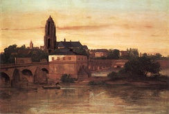 View of Frankfurt am Main, including the Alte Brücke (Old Bridge), by Gustave Courbet (1858)